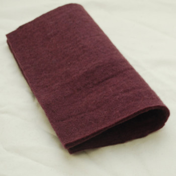 "Handmade 100% Wool Felt Sheet - Approx 5mm Thick - 12"" Square - Aubergine Purple"