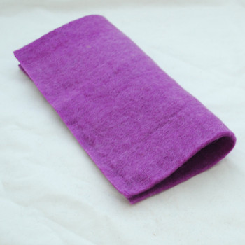 "Handmade 100% Wool Felt Sheet - Approx 5mm Thick - 12"" Square - Amethyst Purple"