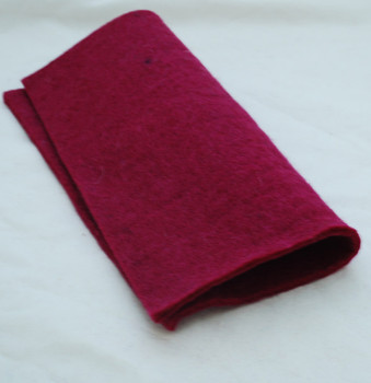 "Handmade 100% Wool Felt Sheet - Approx 5mm Thick - 12"" Square - Azalea Pink"