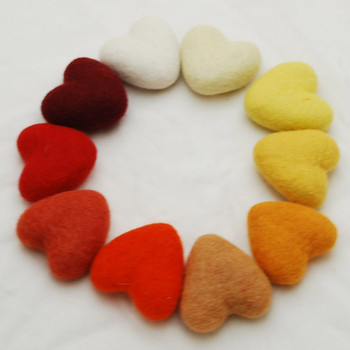 100% Wool Felt Heart - 6cm - Red Orange Yellow Colours - 10 hearts