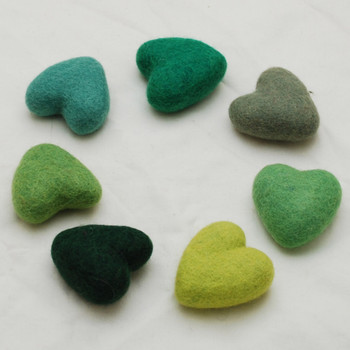 100% Wool Felt Heart - 6cm - Green Colours - 7 hearts