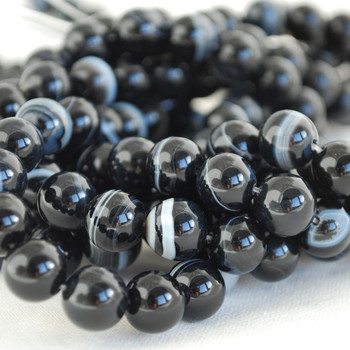 High Quality Grade A Natural Banded Black Agate Gemstone Round Beads 4mm, 6mm, 8mm, 10mm sizes