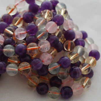High Quality Grade A Natural Citrine  Amethyst Prehnite Rose Quartz  Mixed Gemstone Round Beads - 8mm