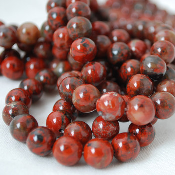 High Quality Grade A Natural Brecciated Jasper Gemstone Round Beads 4mm, 6mm, 8mm, 10mm sizes