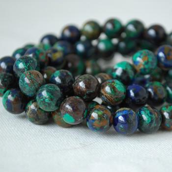 High Quality Grade A Natural Azurite Semi-precious Gemstone Round Beads - 8mm - 4 Beads