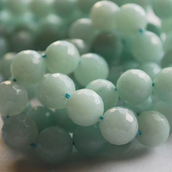 """High Quality Grade A Natural Amazonite Faceted Semi-Precious Gemstone Round Beads 6mm, 8mm, 10mm sizes - 15"""" long"""