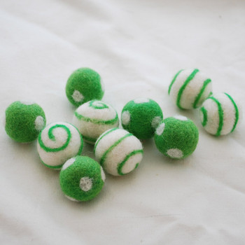 100% Wool Felt Balls - Polka Dots & Swirl Felt Balls - 2.5cm - 10 Count - Green Flash