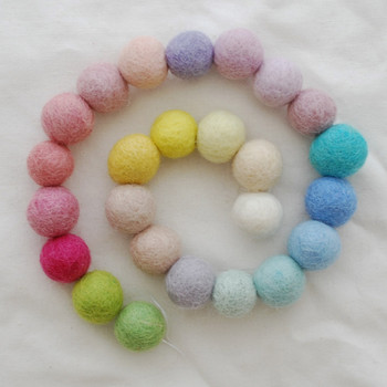 100% Wool Felt Balls - 25 Count - 1.5cm - Assorted Light, Pale & Pastel