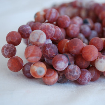 High Quality Grade A Natural Fire Agate Frosted / Matte Semi-precious Gemstone Round Beads 4mm, 6mm, 8mm, 10mm sizes