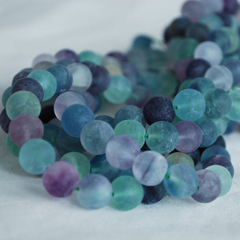 High Quality Grade A Natural Rainbow Fluorite Frosted / Matte Semi-precious Gemstone Round Beads 4mm, 6mm, 8mm, 10mm sizes