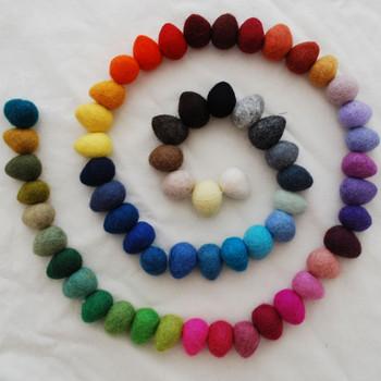 100% Wool Felt Raindrops / Teardrops - 60 Count - Assorted Colours