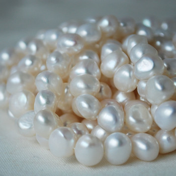 """16"""" Strand Natural Freshwater Pearl Beads Nuggets White 7 - 9mm Grade AA"""
