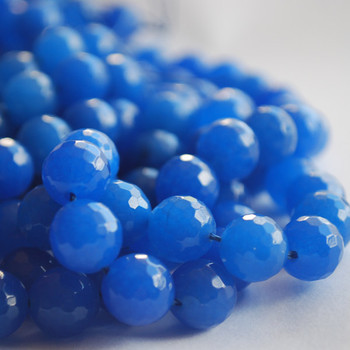 """Blue Quartz Faceted Round Beads 6mm, 8mm, 10mm sizes - 15"""" long"""