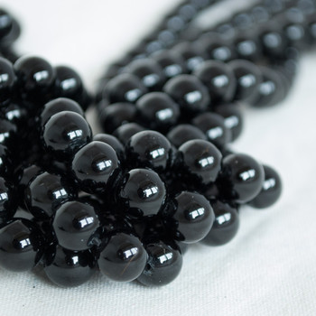 High Quality Grade A Natural Black Tourmaline Semi-precious Gemstone Round Beads - 4mm, 6mm, 8mm, 10mm sizes