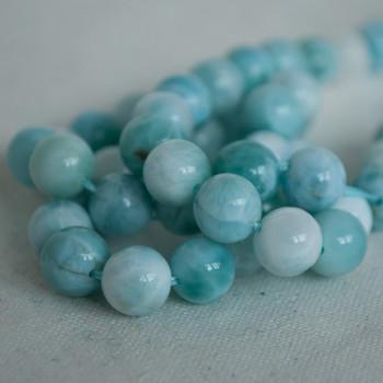 High Quality Grade A Natural Larimar Semi-precious Gemstone Round Beads - 8mm - 4 Beads