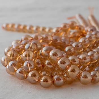 High Quality Gold Aura Quartz Round Beads - 4mm, 6mm, 8mm, 10mm sizes