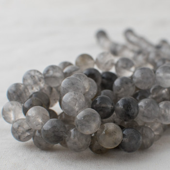 High Quality Grade A Natural Grey Quartz Semi-precious Gemstone Round Beads - 4mm, 6mm, 8mm, 10mm sizes