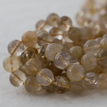 High Quality Grade A Natural Yellow Rutilated Quartz Semi-precious Gemstone Round Beads - 4mm, 6mm, 8mm, 10mm sizes