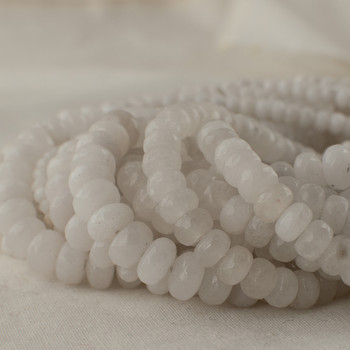 High Quality Grade A Natural White Jade Semi-Precious Gemstone Faceted Rondelle / Spacer Beads - 4mm, 6mm, 8mm, 10mm sizes