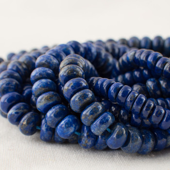 High Quality Grade A Natural Lapis Lazuli (blue) Semi-Precious Gemstone Rondelle / Spacer Beads - 4mm, 6mm, 8mm sizes