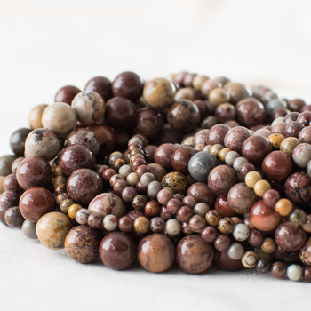 High Quality Grade A Natural Artistic Jasper (red) Semi-precious Gemstone Round Beads - 4mm, 6mm, 8mm, 10mm sizes