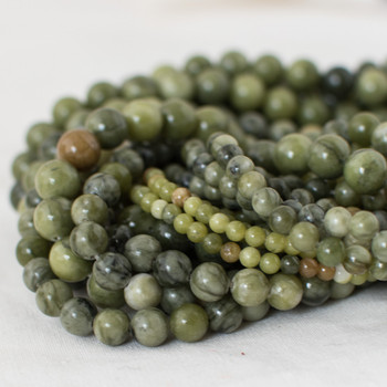 High Quality Grade A Natural Green Jade Semi-precious Gemstone Round Beads - 4mm, 6mm, 8mm, 10mm sizes