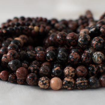 High Quality Grade A Natural Red Snowflake Obsidian Semi-precious Gemstone Round Beads - 4mm, 6mm, 8mm, 10mm sizes