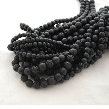 High Quality Natural Black Lava Stone Round Beads - 4mm, 6mm, 8mm, 10mm sizes