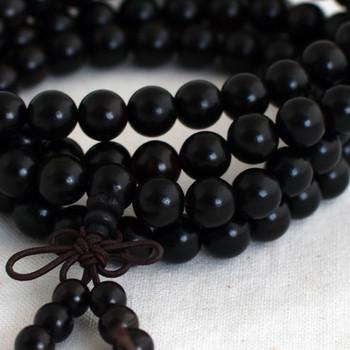 Natural Black Sandalwood Round Wood Beads - 108 beads - Mala Prayer Beads - 6mm, 8mm