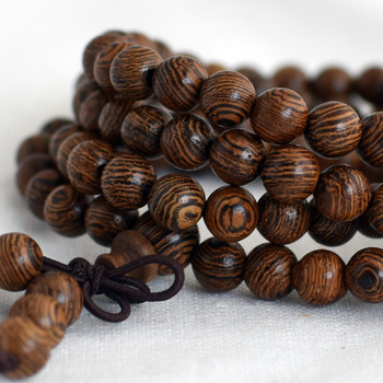Natural African Sennawood Siamese Round Wood Beads - 108 beads - Mala Prayer Beads - 6mm - Dark Colour