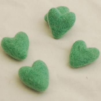 100% Wool Felt Hearts - 5 Count - Jade Green - Approx 3.5cm