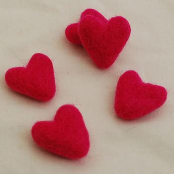100% Wool Felt Hearts - 5 Count - Fuschia Pink - Approx 3.5cm