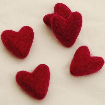 100% Wool Felt Hearts - 5 Count - Azalea Pink - Approx 3.5cm