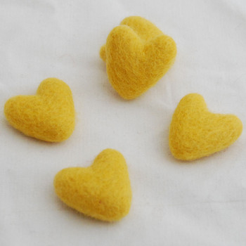 100% Wool Felt Hearts - 5 Count - Bright Golden Yellow - Approx 3.5cm