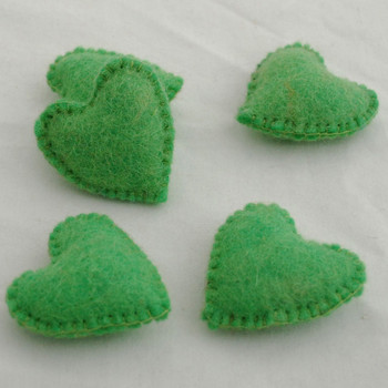 100% Wool Felt Fabric Hand Sewn / Stitched Felt Heart - 2 Count - approx 5.5cm - Green Flash