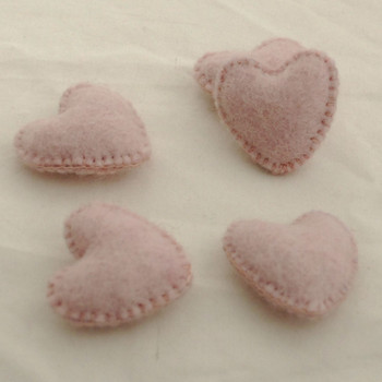 100% Wool Felt Fabric Hand Sewn / Stitched Felt Heart - 2 Count - approx 5.5cm - Light Baby Pink