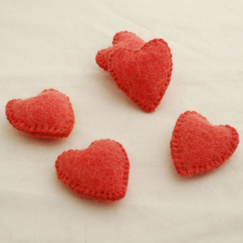 100% Wool Felt Fabric Hand Sewn / Stitched Felt Heart - 2 Count - approx 5.5cm - Light Coral Red