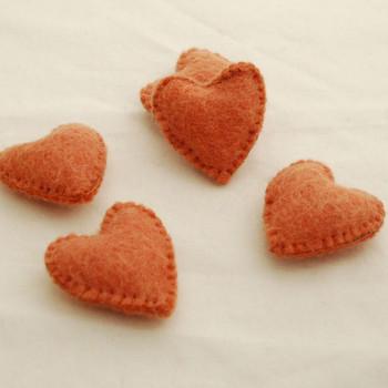 100% Wool Felt Fabric Hand Sewn / Stitched Felt Heart - 2 Count - approx 5.5cm - Light Carrot Orange