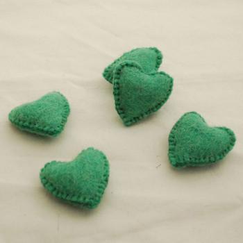 100% Wool Felt Fabric Hand Sewn / Stitched Felt Heart - 2 Count - approx 5.5cm - Jade Green