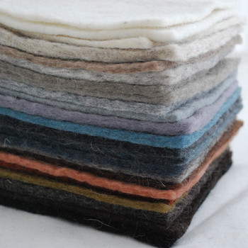"Handmade 100% Wool Felt Square Sheets - Approx 5mm Thick - 22 assorted 6"" Square Felt Sheets - Neutral Colours"