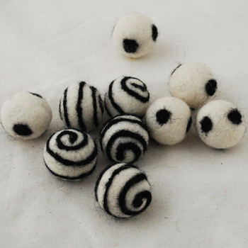 100% Wool Felt Balls - 10 Count - Ivory White Felt Balls with Black Polka Dots / Swirl - approx 2.5cm