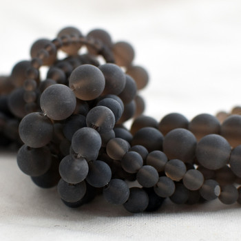 High Quality Grade A Natural Smoky Quartz (brown) Frosted / Matte Semi-precious Gemstone Round Beads - 4mm, 6mm, 8mm, 10mm sizes