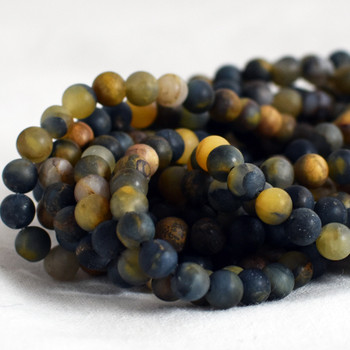 High Quality Grade A Natural Golden Pietersite Frosted / Matte Semi-precious Gemstone Round Beads - 6mm