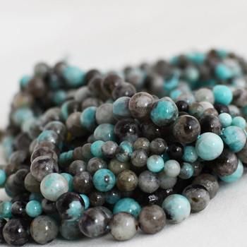 High Quality Grade A Natural Black Line Amazonite Semi-precious Gemstone Round Beads - 6mm, 8mm, 10mm sizes