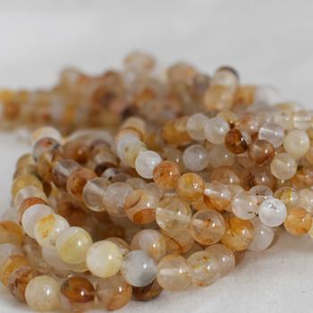 High Quality Grade A Natural Yellow Quartz Semi-precious Gemstone Round Beads - 6mm, 8mm, 10mm sizes
