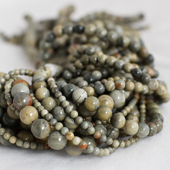 High Quality Grade A Natural Green Silver Leaf Jasper Semi-precious Gemstone Round Beads - 4mm, 6mm, 8mm, 10mm sizes