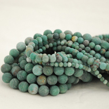 High Quality Grade A Natural Australian Bloodstone Frosted / Matte Semi-Precious Gemstone Round Beads - 4mm, 6mm, 8mm, 10mm sizes