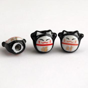 Maneki Neko Lucky Cat Porcelain Bead - Feng Shui - Fortune and Wealth