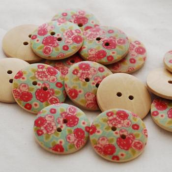 10 Floral Wood Buttons - Rose Flower - 3cm