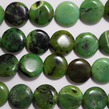 8 Natural Chrysotine Disc Coin Beads 14mm